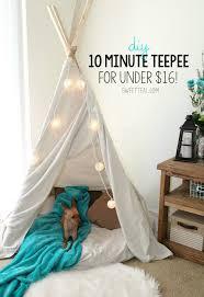Diy 10 Minute Teepee For Under 16 Sweet Teal Diy Kids Teepee Diy Teepee Teepee Kids