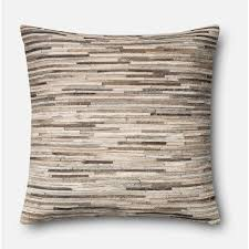 hair on hide leather throw pillow with