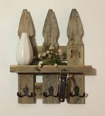 Rustic Picket Fence Wall Shelf Key Holder Coat Hooks Etsy In 2020 Picket Fence Decor Picket Fence Crafts Fence Decor