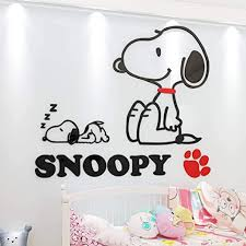 Amazon Com Pqzqmq Snoopy Vinyl Wall Decal Stickers For Kids Rooms Snoopy Wall Decor Home Kitchen