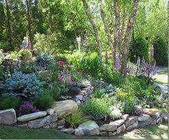terraced flower beds sloped garden