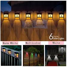 6 Packs Solar Deck Lights 2led Outdoor Garden Decorative Wall Mount Fence Post Lighting Wish