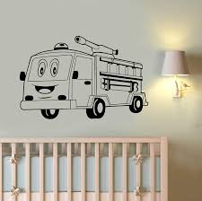 Amazon Com Cartoon Fire Truck Wall Vinyl Art Best Decal Fire Engine Vinyl Sticker Fire Rescue Car Firefighter Decorations For Home Kids Room Nursery Decor Made In Usa Fast Delivery Home Kitchen