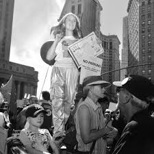 faces of young protesters at new york