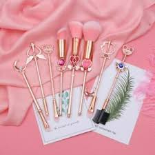 pink black hair cosplay makeup brushes