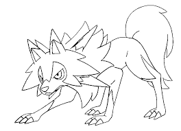 Kleurplaat Pokemon Sun En Moon Lycanroc Midday Form 46