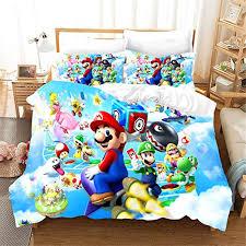 Amazon Com Amtan 3d Super Mario Duvet Cover Set Kids Teen Adult Bedding Set 100 Microfiber Bed Set 3 Piece 1 Duvet Cover 2 Pillow Shams Twin Full Queen King Size Home Kitchen
