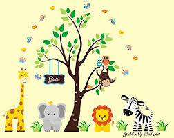 Baby Nursery Childrens Wall Decals Safari Jungle Animals Wildlife Themed 83 X 97 Inches Repositionable Removable Reusable Wall Art Better Than Vinyl Wall Decals Superior Material Monogrammed Name Check Price Svetlanxczrtyomova