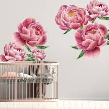 Amazon Com Herra Large Peony Wall Decal Wall Sticker Home Decor 40cm X200cm Peel And Stick Removable Giant Wall Stickers Wall Mural For Kids Nursery Bedroom Living Room Kitchen Dining