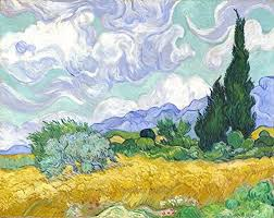 Amazon Com Wheat Field With Mountains In The Background By Vincent Van Gogh Wall Decal Peel Stick Removable 24 X 19 Home Kitchen