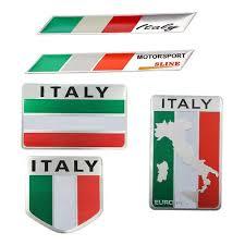 Vova Aluminum 3d Metal Italy Italian Flag Sticker Emblem Badge Decal Car Decorate