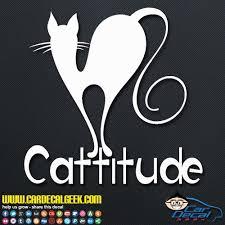 Cattitude Cat Car Window Laptop Wall Decal Sticker