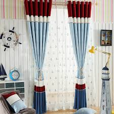 Mediterranean Poly Cotton Blend Nautical Blue And Red Anchor Pattern Jacquard Curtain For Kids Room
