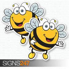 2 X Bee Stickers Happy Bumble Bee Vinyl Decal Window Bumper Fun Sticker Ebay