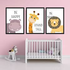 Be Happy Stand Tall Be Brave Combo Poster Frame Wall Decor Baashah Decor