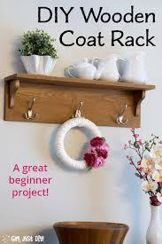 diy wooden coat rack with shelf girl