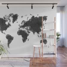 World Map Black Sketch Map Of The World Wall Art Poster Wall Decal Earth Atlas Geography Map Wall Mural By Radub85 Society6