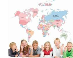 Removable World Map Colorful Letter Wall Sticker Kid Room Home Decor Bedroom Usa For Sale Online