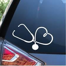 Exterior Accessories Nurse Heart Vinyl Car Sticker Window Decal White Cbib Cl