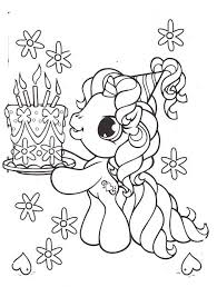 Little Pony Brought A Birthday Cake Coloring Pages My Little