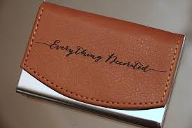 engraved leather business card holder