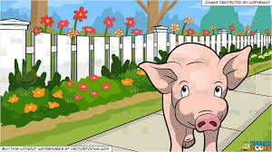 A Cute Pig Charming Its Way And White Picket Fence Background Clipart Cartoons By Vectortoons