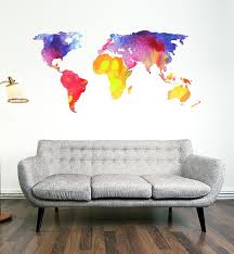 Watercolour World Map Wall Decal Etsy Map Wall Decal World Map Wall Decal Water Color World Map