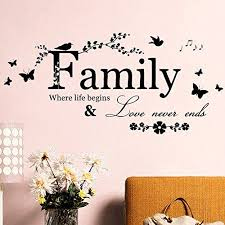 Family Love Never Ends Quote Vinyl Wall Decal Wall Lettering Art Words Wall Sti Wall Decor Stickers Quotes Wall Stickers Family Living Room Wall Decor Stickers