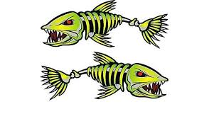 Graphics Decals Parts Accessories 2pcs 12 Skeleton Fish Decal Sticker Fishing Boat Kayak Car Truck Decoration