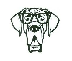 Great Dane Natural Ears Glasses Smart Puppy Vinyl Decal In Outdoor Permanent Ebay