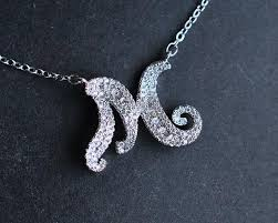 18k white gold plated initial pave cz