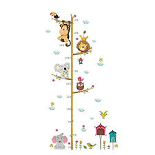 Lovely Animals On Tree Branch Growth Chart Wall Stickers Kids Room Decoration Children Height Measure Diy Home Decals Walmart Com Walmart Com