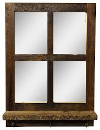 reclaimed wood 4 pane mirror shelf with