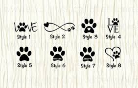 Love Paw Animal Car Decal Dog Love Paw Word Decal Paw Etsy