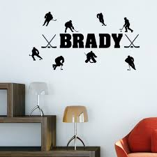 Custom Made Personalized Name Match Of Ice Hockey Wall Stickers Home Decor Vinyl Decal For Living Room You Choose Name Color Decal Sticker Stickers Nursestickers Crane Aliexpress
