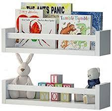 Amazon Com Wallniture Utah Set Of 2 Nursery Room Wood Floating Wall Shelves White Furniture Decor