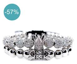 royal crown silver bracelet for couple