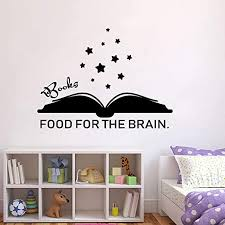 Amazon Com Laxis Book Wall Decal Books Food For The Brain Wall Decal Quote Words Reading Book Vinyl Wall Stickers Kids Gift Bedroom Decoration Poster Home Kitchen