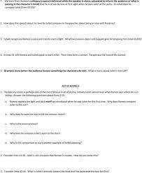 romeo and juliet prologue translation worksheet key quotes pdf