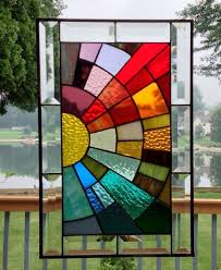 stained glass window panel rainbow arch