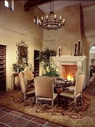 old world dining room with fireplace
