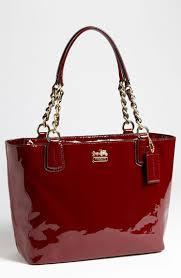crimson patent leather coach purse