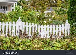 Part White Picket Fence Front Yard Stock Photo Edit Now 1021377469