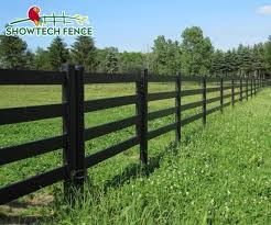 China Widely Used 4 Rails Black Field Horse Pvc Fence China Horse Fence Pvc Horse Fence
