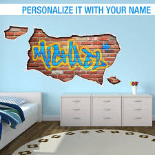 Personalized Graffiti Street Art Color Street Wall Decal Personalized Gift Birthday Gift Custom Stickers Gift Gifts Sku Pergrafna Wall Stickers Bedroom Wall Decals For Bedroom Kids Wall Decor