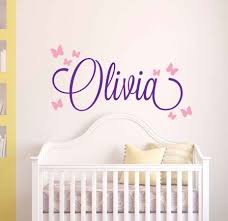 Butterflies Name Decal Customized Name Wall Sticker Nursery Wall Decal Baby Bedroom Decoration Girl Name Wall Art Mural Ay0114 Wall Stickers Aliexpress