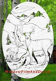 Amazon Com Deer Scene Oval Etched Window Decal Vinyl Glass Cling 15 X 23 White With Clear Design Elements Home Kitchen