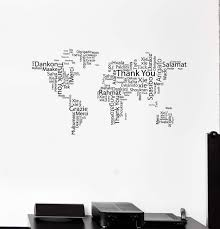 Vinyl Wall Decal World Map Thank You Words Cloud Office Space Room Art Wallstickers4you