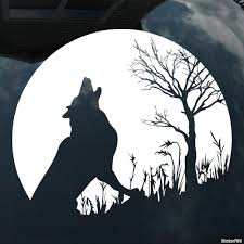 Decal Wolf Howling At The Moon Near A Tree Buy Vinyl Decals For Car Or Interior Decal Factory Stickerpro Different Colors And Sizes Is Avalable Free World Wide Delivery