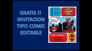 Gratis Invitacion Tipo Comic Spider Man Editable Youtube